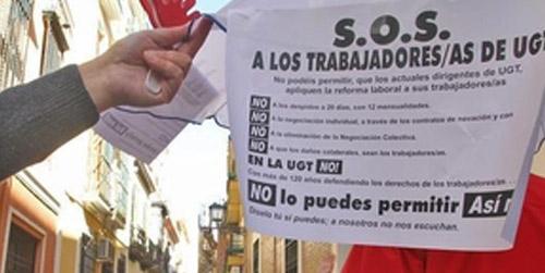 La sección sindical de UGT-A pide la dimisión de su secretario general por incoherencia al aplicar la última reforma laboral contra la que convocaron una huelga general