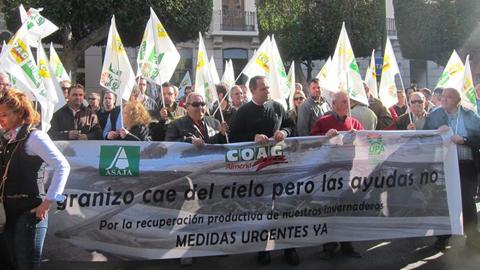 Agricultores y ganaderos de la provincia de Almería y norte de Granada han protestado hoy para pedir ayudas que alivien los graves efectos que la sequía está provocando en sus explotaciones