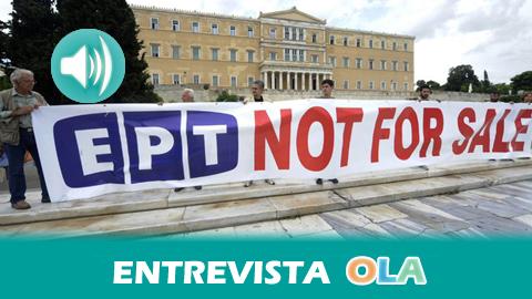 """""""La plantilla de la radiotelevisión griega, EPT, tienen la esperanza de que gane Syriza porque se ha comprometido a su apertura y a la readmisión de sus trabajadores"""", Antonio Moreno, activista"""