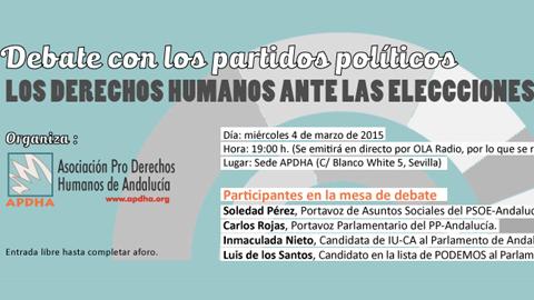 La Onda Local de Andalucía emite en directo este miércoles, a partir de las 19:00 horas, el debate «Los Derechos Humanos ante las elecciones andaluzas» con representantes de partidos políticos regionales