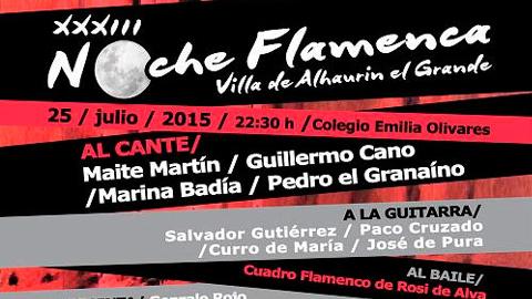 Alhaurín el Grande celebra el próximo 25 de julio su XXXIII Noche Flamenca donde se podrá disfrutar del cante, baile y guitarra en uno de los lugares más prolíferos de flamenco en la provincia de Málaga