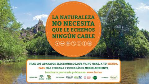 Hoy comienza en Arahalla campaña de información y concienciación ciudadana «La Naturaleza no necesita que le echemos ningún cable» para promocionar el reciclaje de pequeños electrodomésticos