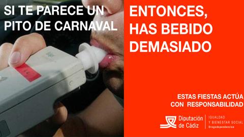 La Diputación de Cádiz lanza una campaña en las redes sociales para concienciar a los más jóvenes sobre los prejuicios del consumo excesivo de bebidas alcohólicas en los carnavales de la provincia