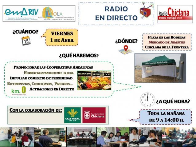 La Onda Local de Andalucía y Radio Chiclana organizan este viernes, 1 de abril, una jornada de radio en directo para la promoción del comercio local y el fomento de las cooperativas en el Mercado de Abastos de la localidad gaditana