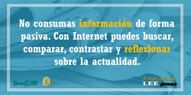Con Internet puedes buscar, comparar, contrastar y reflexionar sobre la actualidad – Ponte al día, lee prensa. EMA-RTV con la alfabetización mediática