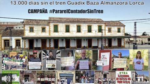 La campaña 'Parar el contador sin tren' pide que se reactive la línea ferroviaria Guadix-Baza-Almanzora-Lorca por ser una herramienta viable contra el despoblamiento rural