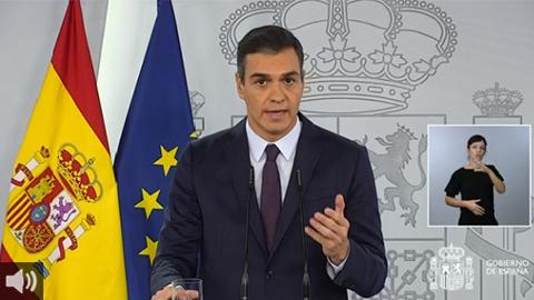 Pedro Sánchez: 'La situación es grave y entre todos tenemos que actuar con determinación y disciplina social para frenar los contagios y causar el menor daño económico posible'