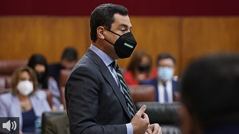 'La ciudadanía no pide nuevas elecciones sino vacunas y salir de la crisis, es en lo que estamos y nuestra prioridad', Juan Manuel Moreno, presidente de la Junta de Andalucía