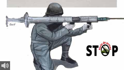 Organizaciones sociales y sindicales participantes en la plataforma Stop Ferias de Armas de Sevilla reclaman 'gastos militares para inversión en sanidad'