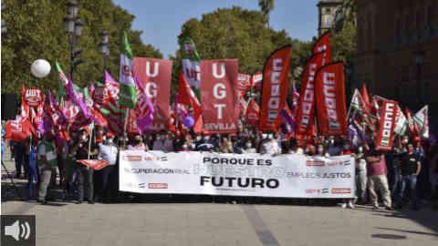 CCOO y UGT Andalucía se unen en una manifestación conjunta con motivo del Día del Trabajo Decente