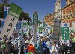 Los sindicatos sectoriales se manifiestan contra los recortes de la Junta de Andalucía