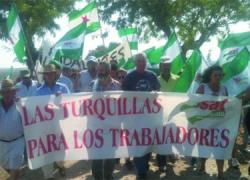 El Sindicato Andaluz de Trabajadores espera el desalojo de la finca de Las Turquillas