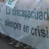 Los trabajadores de la Confederación Andaluza de personas con discapacidad protagonizan una marcha contra el impago de 10 meses de salarios y los despidos