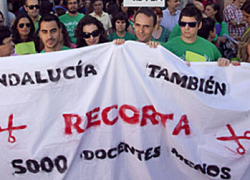 Los profesores interinos andaluces finalizan la marcha a pie en Sevilla y preparan nuevas movilizaciones frente a los recortes en la educación pública