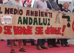 Integrantes de la Plataforma Andalucía libre de fracking se han concentrado hoy en el Parlamento contra esta actividad