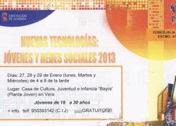 La localidad almeriense de Vera organiza a través del Programa de Nuevas Tecnologías un curso sobre Juventud y Redes Sociales totalmente gratuito