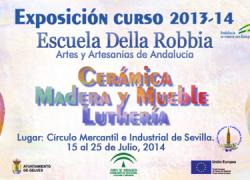 Los alumnos y alumnas de la Escuela de Artesanos «Della Robbia» de Gelves exponen sus trabajos en Sevilla a pesar de la precaria situación de los trabajadores del centro