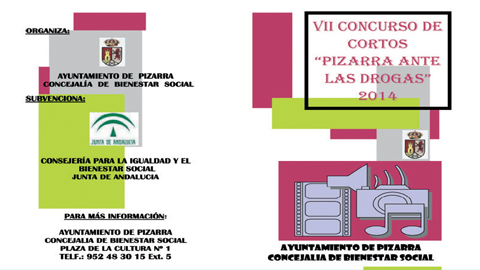 Pizarra convoca a la juventud de la localidad a participar en el Concurso de Cortos y Eslogan 'Pizarra ante las drogas', un proyecto de prevención de drogodependencias que viene realizando la Concejalía de Bienestar Social desde el año 2001