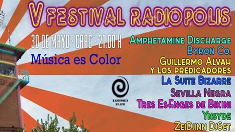 La emisora ciudadana de Sevilla 'Radiópolis' celebra el sábado 30 de mayo la V edición del Festival Radiópolis Música es Color, aprovechando para reivindicar su lucha con el Ayuntamiento por permanecer en su sede