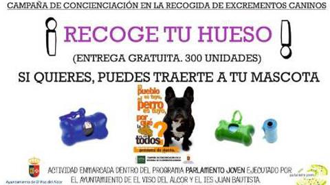 """Alumnos y alumnas del IES Prof. Juan Bautista de El Viso de Alcor promueven, a través del Parlamento Joven, una campaña de concienciación para la recogida de excrementos caninos bajo el titulo """"¡Recoge tu hueso!"""""""