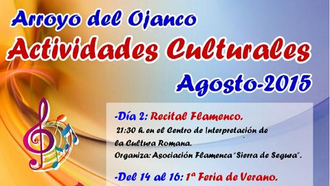 Arroyo Del Ojanco celebra múltiples actividades culturales durante el mes de agosto entre las que destacan las primeras Feria de Verano y Ruta de la Tapa además del tradicional Concurso de Pesca