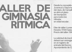 El taller de gimnasia rítmica del municipio malagueño de Campillos dará comienzo el próximo lunes 5 de octubre en el gimnasio del CEIP Manzano Jiménez y se va a prolongar durante todo el curso escolar