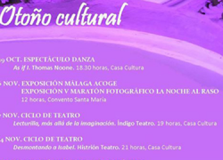 La ciudadanía de Coín podrá disfrutar de la danza, el teatro, la poesía, la música y las exposiciones de fotografía en el programa 'Otoño cultural' que se celebra en los meses de noviembre y diciembre