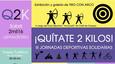 """Almedinilla organiza la tercera edición de las jornadas deportivas solidarias """"Quítate 2 Kilos"""" en las que cada participante aportará dos kilos de comida no perecedera o material escolar para Cruz Roja"""
