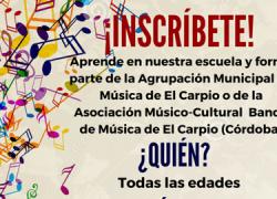 El Carpio fomenta la cultura musical en el municipio y anima a sus vecinos y vecinas a inscribirse en la Escuela Municipal de Música para formar parte de las agrupaciones municipales locales