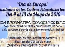 Los centros educativos de Villa del Río organizan una serie de actividades con el objetivo de aumentar el conocimiento sobre la Unión Europea y el programa Erasmus, como conmemoración del Día de Europa