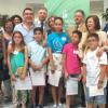 Los niños y niñas integrantes del 'Consejo Municipal de la Infancia' del municipio onubense de Almonte participan en la presentación del II Plan de Infancia y Adolescencia de Andalucía 2016-2020