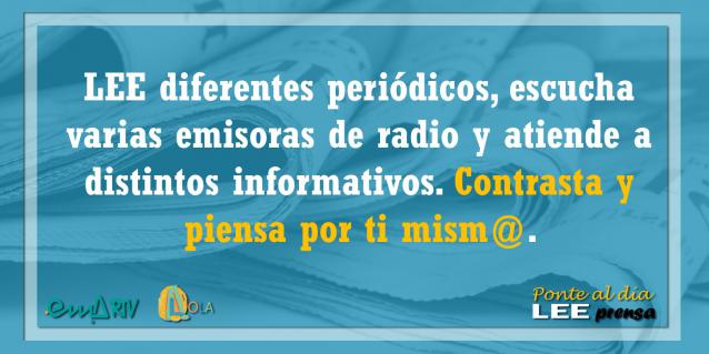 Lee diferentes periódicos, escucha varias emisoras de radio y atiende a distintos informativos – Ponte al día, lee prensa. EMA-RTV con la alfabetización mediática