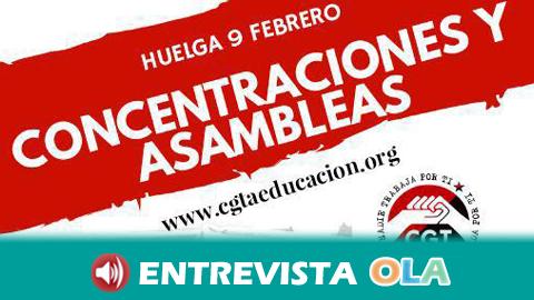 CGT llama a la huelga hoy en la enseñanza andaluza para exigir la estabilidad del profesorado interino ante el temor de miles de despidos