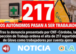 La empresa Glovo tendrá que reconocer la relación laboral de 217 de sus repartidores en Córdoba